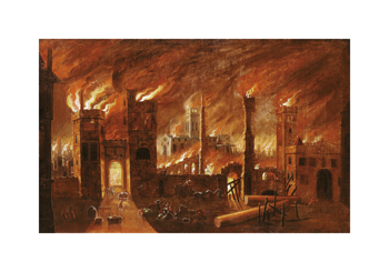 The Great Fire of London, seen from Newgate, 1666 Fine Art Print by Jan Griffier