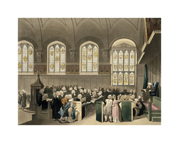 Court of Chancery, Lincoln's Inn Hall Fine Art Print by Thomas Rowlandson