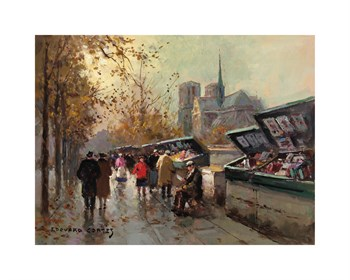 Bookstalls at Notre Dame Fine Art Print by Edouard Cortes
