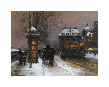 Evening Snow at the Institute of France Fine Art Print by Edouard Cortes