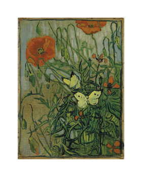Butterflies and Poppies Fine Art Print by Vincent Van Gogh