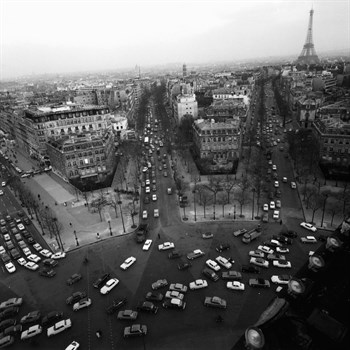 View from the Arc de Triomphe to the Place de l'Etoile, 1960s Canvas Print by Paul Almasy