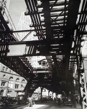 El' Second and Third Avenue Lines, Hanover Square and Pearl Street, Manhattan by Berenice Abbott Standard