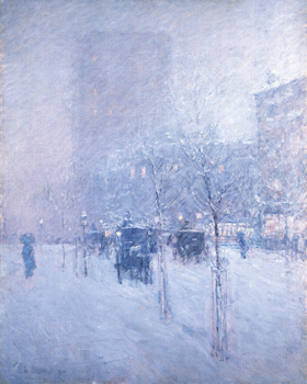 Late Afternoon, New York: Winter Canvas Print by Frederick Childe Hassam