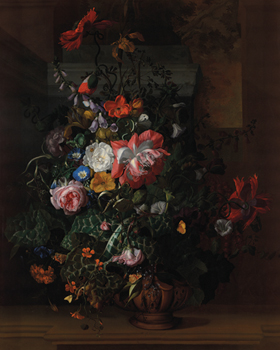 Flowers in an Urn on a Stone Ledge Canvas Print by Rachel Ruysch
