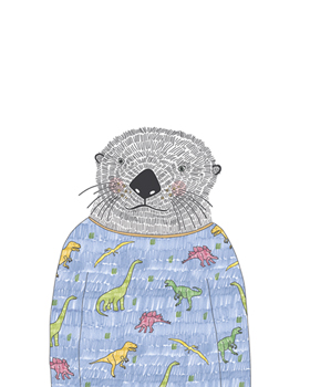 Otter in a Sweater Canvas Print by Archie Stone