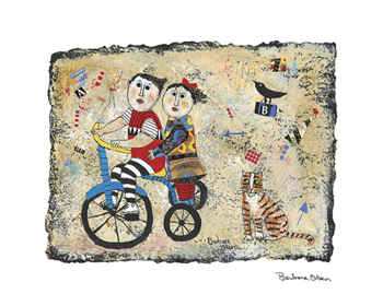 Bicycle Built for Two Canvas Print by Barbara Olsen