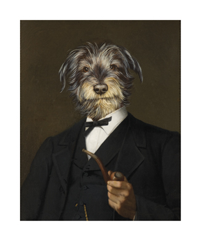 Cairn Terrier With A Pipe Fine Art Print by Thierry Poncelet