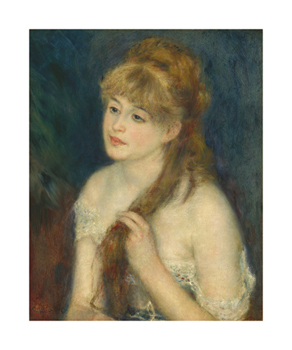 Young Woman Braiding Her Hair Fine Art Print by Pierre Auguste Renoir