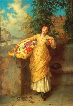 The Flower Seller Print by Augustus Mulready