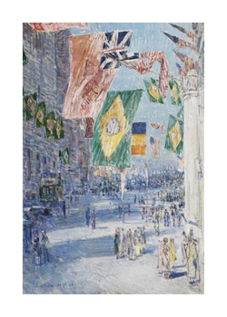 Avenue of the Allies: Brazil, Belgium, 1918 Fine Art Print by Frederick Childe Hassam