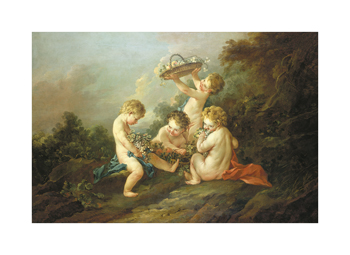 A Pair Of Putti I Fine Art Print by Francois Boucher