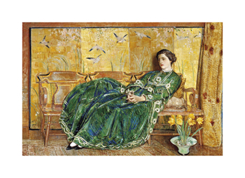 April: The Green Gown Fine Art Print by Frederick Childe Hassam