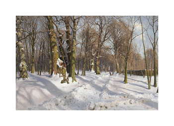 Snowy Forest Road in Sunlight Fine Art Print by Peder Mork Monsted
