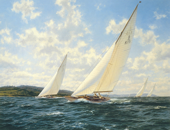 8 Metres racing off the West Solent Fine Art Print by Steven Dews