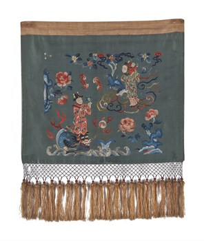 Embroidered Silk Fringed Panel with Figures Fine Art Print by Oriental School