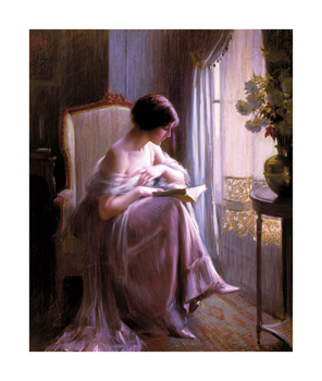 Young Woman Reading by a Window Fine Art Print by Delfin Enjolras