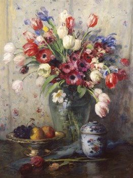 Spring Flowers and Ginger Jar Print by Fernand Toussaint