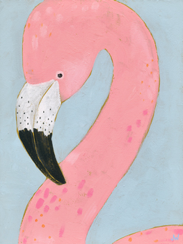 Tropical Birds - Flamingo Canvas Print by Joelle Wehkamp