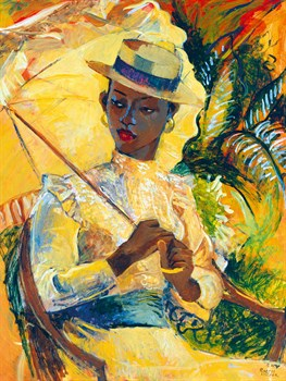 Boater Hat with Parasol Print by Boscoe Holder