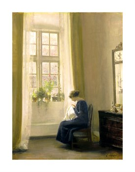 A Girl Sewing In An Interior Fine Art Print by Carl Holsoe