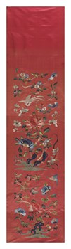 Embroidered Silk, Flowers on Coral Fine Art Print by Oriental School