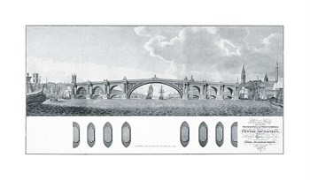 Design for a Bridge with a Centre Arch of Iron Fine Art Print by James Basire