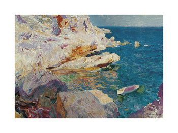 Rocks at Jávea and The White Boat Fine Art Print by Joaquín Sorolla y Bastida