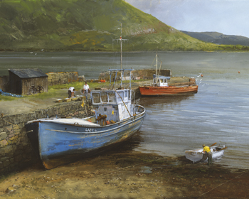 Fishing Boats On Lake Connemara Print by Clive Madgwick