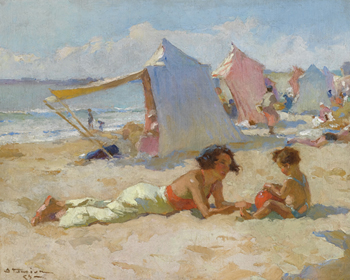 Playing on the Beach Print by Charles Atamian