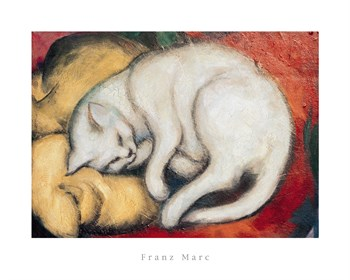 Cat On A Yellow Pillow Print by Franz Marc