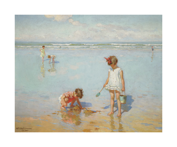 Children by the Sea Fine Art Print by Charles Atamian