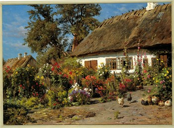 Cottage Garden Print by Peder Mork Monsted