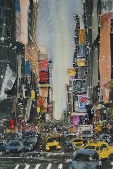 A Study of NY Theatre District Canvas Print by Susan Brown