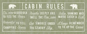Cabin Rules Panel Print by The Vintage Collection