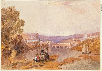 Figures Beside The Arno Near Florence Print by Alfred Vickers