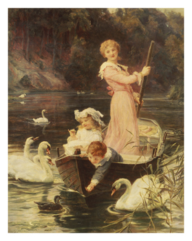 A Day on the River Print by Frederick Morgan