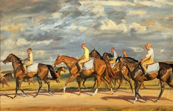 Exercising, Early Morning, Newmarket Print by Sir Alfred Munnings
