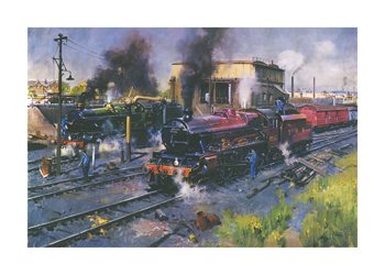 Express Engines at Tyseley Fine Art Print by Terence Cuneo