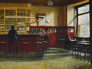 Afternoon in Cafe Central, Madrid Print by Clive McCartney