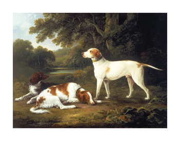A Pointer and Two Spaniels in a Park Fine Art Print by Charles Henry Schwanfelder
