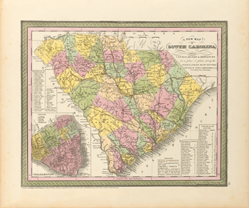 A New Map of South Carolina, 1850 Fine Art Print by S.A. Mitchell