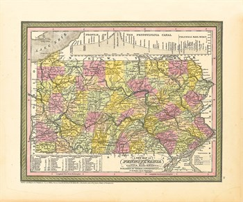 A New Map of Pennsylvania, 1850 Fine Art Print by S.A. Mitchell