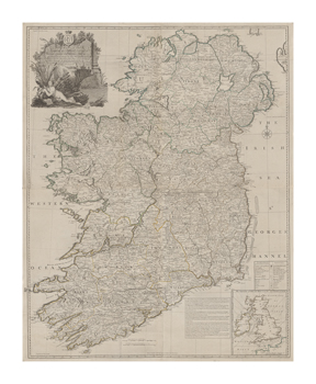 A Map of the Kingdom of Ireland, Divided into Provinces, 1794 Fine Art Print by John Rocque