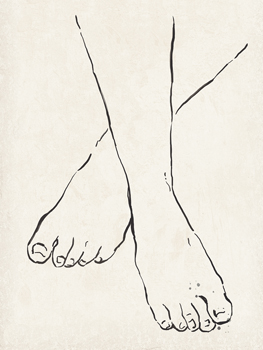 Foot Steps Print by Clara Wells