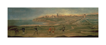 Military Players, with a View of St. Andrews from the Old Course by 18th Century School Standard