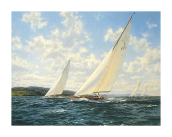 8 Metres racing off the West Solent Fine Art Canvas Print by Steven Dews