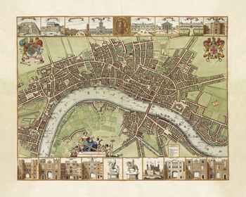 A Map of London, 1688 Fine Art Print by Wenceslaus Hollar
