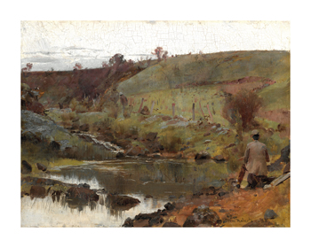 A quiet day on Darebin Creek Fine Art Print by Tom Roberts