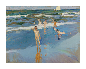 Children in the Sea, Valencia Beach Fine Art Print by Joaquín Sorolla y Bastida